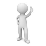 3d man showing thumbs up like  over white. Background Stock Images