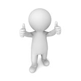 3d man showing two thumbs up isolated on white background royalty free illustration