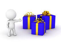 3D man showing wrapped gifts Stock Images