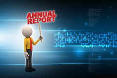 3d man shows the annual report Stock Photos