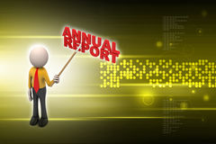 3d man shows the annual report Stock Photography
