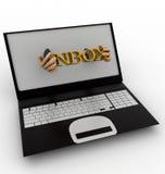 3d man shows inbox text through laptop concept Royalty Free Stock Photo