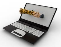 3d man shows inbox text through laptop concept Stock Image