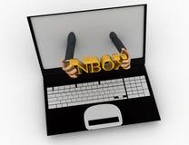 3d man shows inbox text through laptop concept Stock Images