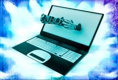 3d man shows inbox text through laptop illustration Stock Image