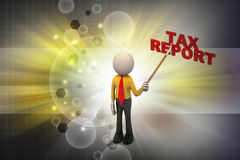 3d man shows the tax report. In color background Stock Images