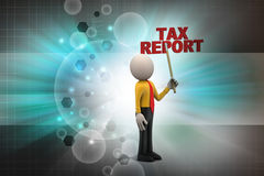3d man shows the tax report. In color background Royalty Free Stock Photo