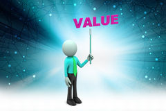 3d man shows the value text. In color background Royalty Free Stock Photo