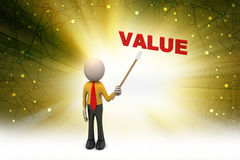 3d man shows the value text. In color background Stock Images