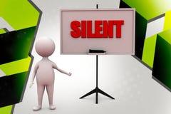 3d man silent  illustration Royalty Free Stock Photo