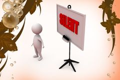 3d man silent  illustration Royalty Free Stock Photography