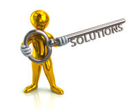 3d man and silver key with word solutions Stock Photo