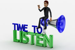 3d man with silver nad blue speaker and time to listen text concept Stock Photo
