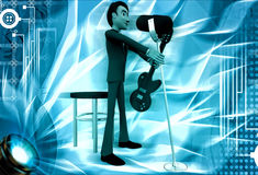 3d man sing song in mic and play guitar illustration Stock Photography