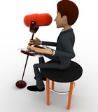 3d man singing song with guitar in mic concept Royalty Free Stock Images