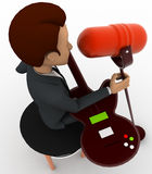 3d man singing song with guitar in mic concept Royalty Free Stock Photography