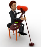 3d man singing song with guitar in mic concept Royalty Free Stock Photo