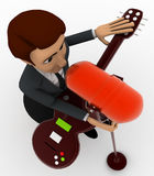3d man singing song with guitar in mic concept Stock Photos
