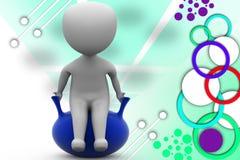 3d man sit on balloon illustration Stock Photo