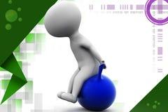 3d man sit on balloon illustration Stock Image