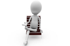 3d man sit on bench concept Royalty Free Stock Photo