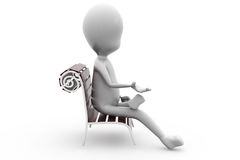 3d man sit on bench concept Royalty Free Stock Photography