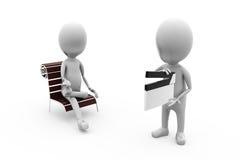 3d man sit clapper concept Stock Photography
