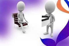 3d man sit clapper  illustration Stock Images