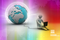 3d man sit near the globe with laptop Royalty Free Stock Photography