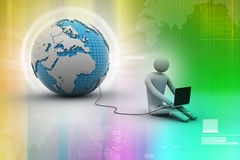 3d man sit near the globe with laptop Royalty Free Stock Photos