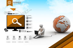 3d man sit near the globe with laptop Royalty Free Stock Image