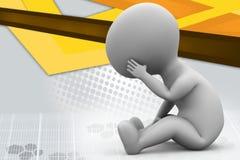 3d man sit sad  illustration Stock Photography
