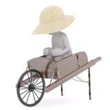 3D man sitting in antique wheelbarrow Stock Photos