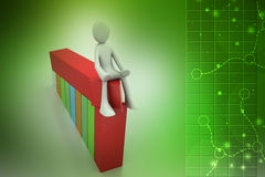 3d man sitting the bar graph. In color background Stock Photo