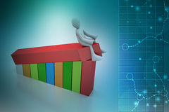 3d man sitting the bar graph. In color background Stock Photos