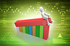 3d man sitting the bar graph. In color background Royalty Free Stock Photo