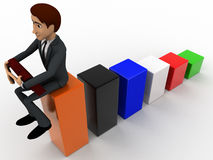 3d man sitting on bar graph and working  concept Stock Images