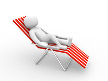 3d man sitting on beach chair. 3d render Royalty Free Stock Photo