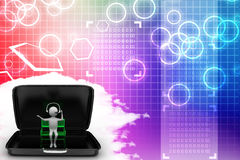 3d man sitting in a bench inside a briefcase Illustration Stock Photo
