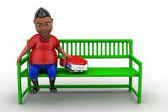 3d man sitting on bench with school bag Royalty Free Stock Photos