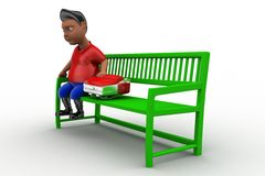 3d man sitting on bench with school bag Royalty Free Stock Image
