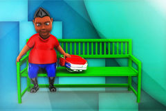 3d man sitting on bench with school bag Stock Photos