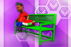3d man sitting on bench with school bag illustration Stock Images