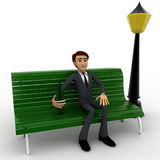 3d man sitting on bench with street light concept Royalty Free Stock Photos
