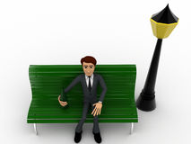 3d man sitting on bench with street light concept Royalty Free Stock Images