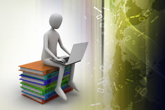 3d man sitting on books and working at his laptop Royalty Free Stock Images