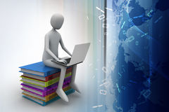 3d man sitting on books and working at his laptop. In color background Stock Photos