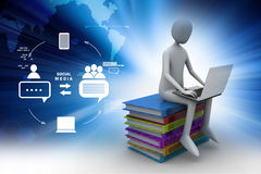 3d man sitting on books and working at his laptop. In color background Royalty Free Stock Photo