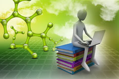 3d man sitting on books and working at his laptop. In color background Royalty Free Stock Photos