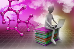 3d man sitting on books and working at his laptop. In color background Royalty Free Stock Images